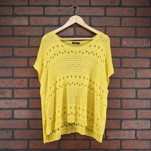 MOMA Open Knit Short Sleeve Sweater Bright Yellow